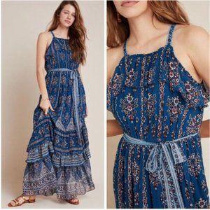 NWT Anthropologie Blue Sasha Ruffled Maxi Dress